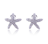 Korean Fashion   Stedded With Crystals   Starfish Silver Plating Earrings Mermaid