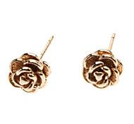 Stereo Rose Metal Stud Earrings