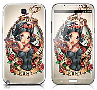 SX-020 Cartoon Girl Pattern Front and Back Protector Stickers for Samsung Note 2 N7100