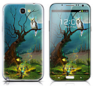 SX-017 Owl in the Tree Pattern Front and Back Protector Stickers for Samsung Note 2 N7100