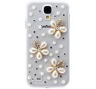 Flor de la perla del caso duro del patrón con el Rhinestone para Samsung i9500 Galaxy S4