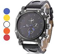 Men's Square Black Case PU Band Quartz Wrist Watch (Assorted Colors)