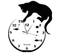 """15"""" Naughty Cat Acrylic Fashion Wall Clock with DIY Dial and Hands Feature"""