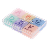6pcs Word A-Z Pattern Colorful Eraser
