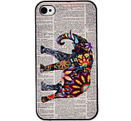 Flower Decorated Elephant Coloured Drawing Pattern Black Frame PC Hard Case for iPhone 4/4S