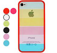 Transparent Regenbogen Stil TPU Feld Hard Case mit Display Schutzfolie und Reinigungstuch für iPhone 4/4S (Optional Farben)