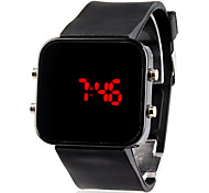 Unisex Red LED Jumbo Square Mirror Face Silicone Band Wrist Watch (Black)