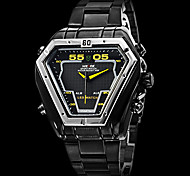 Brand Men's Dual Time Analog-Digital LED Display Black Steel Band Luxury Wrist Watch