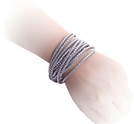 Lureme®Multirow-row Zircon Leather Bracelet