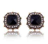 European Style Vintage Crystal Rounded Black Gem Stud Earrings