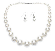 Tower Shape Imitation Pearl Necklace + Earring Set