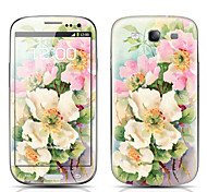 Exquisite Flower Pattern Front and Back Protector Stickers for Samsung Galaxy S3 I9300