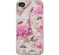 Pink Flowers and The Paris Eiffel Tower Pattern Zircon Back Case for iPhone 4/4S