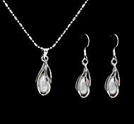 perla d'acqua dolce in lega placcata di gioielli da sposa matrimonio tra collana e orecchini