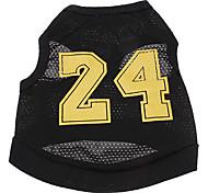 Perros Camiseta Negro Ropa para Perro Verano Letra y Número Cosplay