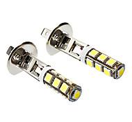 H1 6W 500LM 13X5060SMD luz blanca LED del maíz del bulbo de lámpara de la niebla del coche (12V DC, 1 par)