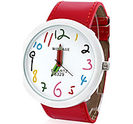 Women's PU Analog Quartz Wrist Watch (Red)
