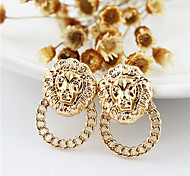 Gold Plated Alloy Stereo Lion Pattern Earrings