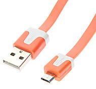 USB A Male to Micro USB Male Flat Type Orange (1M)