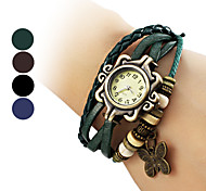 Women's Butterfly Pendant Leather Band Quartz Analog Bracelet Watch (Assorted Colors)
