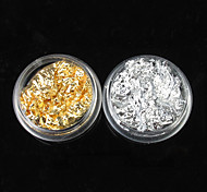 12PCS 2 colores oro y hoja de plata Nail Art Decoraciones