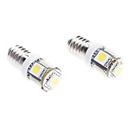 E10 1W 5-SMD 70LM 6000-6500K White Light-LED für Auto (DC 12V, 2-Pack)