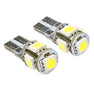 T10 1W 5x5050SMD 50-60LM 6000-6500K Luz Blanca Bombilla para coche (12V DC, 2-Pack) LED