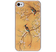 Oil Painting Singing Cuckoo Couple Epoxy Hard Case with Silver Frame for iPhone 4/4S