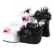 Pure Color Chiffon Ruffle PU Leather 9.5cm High Heel Gothic Lolita Sandals
