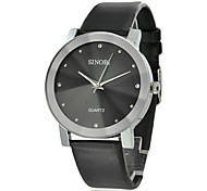 Men's Silver Case PU Analog Quartz Wrist Watch (Assorted Dial Colors)