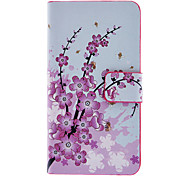 Roze Wintersweet Patroon Full Body Case met Card Slot en Ingebouwde Matte PC Back Cover voor iPhone 4/4S