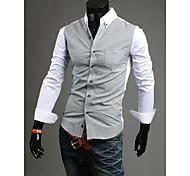 Los hombres del contrato de color de la camisa de manga larga