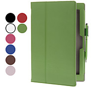 10.1 Inch Lichee Pattern 2 Fold PU Case with Handle for Sony Xperia Tablet Z(Free Random Color Stylus)