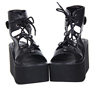 Handmade PU Leather 10cm Wedge Punk Lolita Ankle Sandals