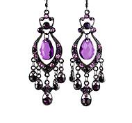 Elegant Alloy Rhinestone Hollow Water-Drop Pendant Earrings
