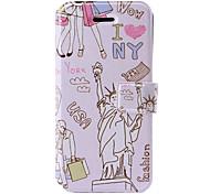 Freiheitsstatue Muster Ledertasche mit Halterung & Kartenslots für iphone 5/5s