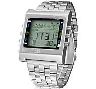 Multi-Function Remoto TV / DVD LCD de Controle Digital Praça Dial Steel Band relógio de pulso dos homens