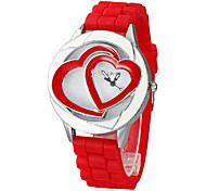 Women Chronograph Quartz Analog Double Heart Dial Red Silicons Band Wrist Watch