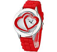 Femmes chronographe à quartz analogique Double Heart Dial Red Silicones Band Wrist Watch