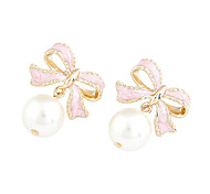 Bowknot Pear Pink Earrings