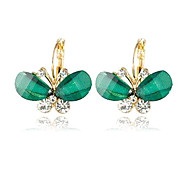 Women's New Korean super delicate butterfly crystal earrings(random color)
