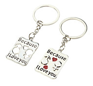 A Pair Rectangle Shaped Lovers Keychains