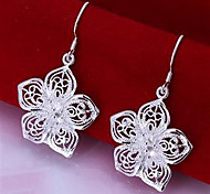 Flower plated silver earrings