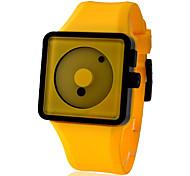 Unisex Creative Two-Dot Dial Silicone Band Quartz Analog Wrist Watch (Yellow)