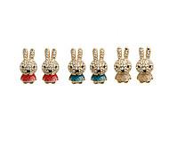 Cute rabbit full diamond earrings earrings earrings (random color)