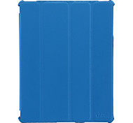 Blue Ultrathin Litchi Line Protective 4 Folded Auto Wake-up/Sleep Leather Case for Ipad 2