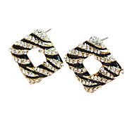 Diamant Quadrat Ohrringe personalisierte Ohrringe schwarz-E522