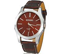 Unisexe Concise Style Dial PU bande de montre bracelet à quartz analogique