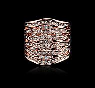 Venta caliente del oro de 18 quilates chapado Noble y Pave Anillo cristales austríacos de la Mujer