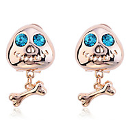 Punk Crystal Ufo Skull Gold Plated Earrings